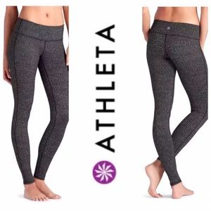 Athleta Grey and Black Heartbeat Chaturanga Tight